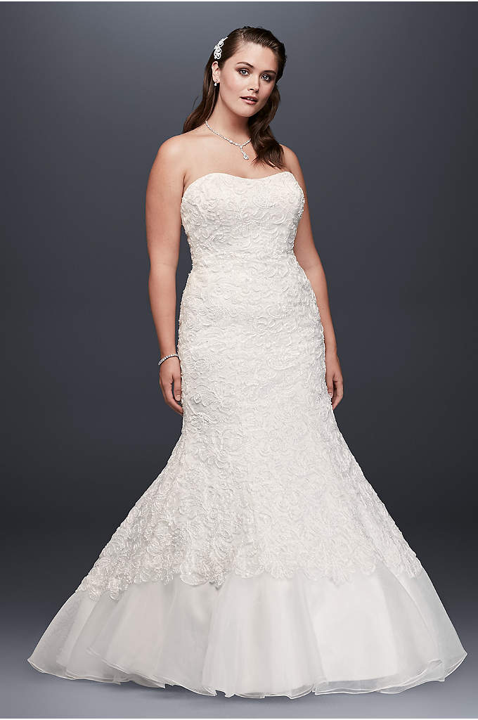 Lace Over Charmeuse Gown with Soutache Detail - This lace-over-charmeuse plus-size trumpet gown exudes captivating glamour.